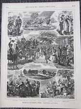Erntefest Pachthof Bauern Knecht Mägde Schleswig-Holstein Holzstich von 1885