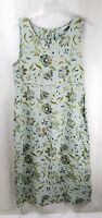 Habitat Clothes To Live In Size M Sleeveless 100% Linen Floral Dress Maxi Green