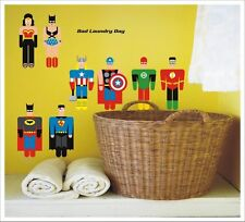 Kids Removable Wall Stickers - Bad Laundry Day Super Heroes SA-12-056