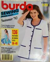 Burda Sewing Made Easy Magazine Patterns Step by Step Instructions Summer 92
