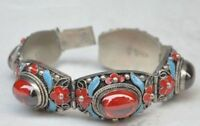 CHINA'S TIBET DYNASTY PALACE CLOISONNE SILVER INLAID JADE BRACELET