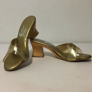 Vtg 60s Island Slipper Mules Wood Heels Shoes Size 7 Made In Hawaii Gold Tiki