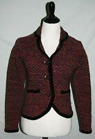 Icelandic Design Sweater Jacket Womens Small Rose Pink Black Beaded Wool Blend