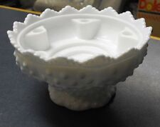 Vintage white hobnail Fenton Glass Flower Frog 5 Taper Candle Holder Centerpiece