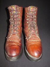 Justin Vintage Brown Leather Kiltie Equestrian Packer Boot Men's US 7.5D JT1