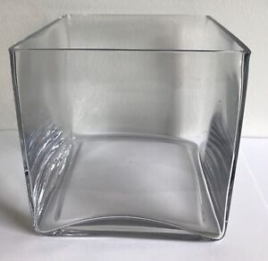 14cm clear glass cube square flower vase