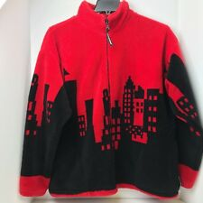 Vintage Black Mountain Outdoor Fleece Jacket City Line Red And Black Warm Size L