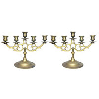 Antique Brass Victorian 5 Candle Candelabra - A Pair