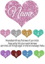 Iron on Transfer PERSONALISED ANY FIRST NAME AND COLOUR HEART GLITTER LOOK 14X12