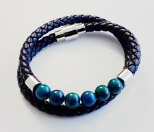 Origin Blue Wrap Leather Bracelet with Blue Beads Elegant with Metal Clasp