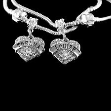 Thelma and Louise bracelet set of  2   friends forever heart charms best gift