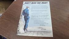 Vintage 1958 Triumph Dealer Accessory Memo Promo Ad Don't Miss The Boat