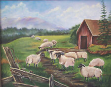 Barn & Sheep  painting reproduction print 8 x 10 on linen card stock