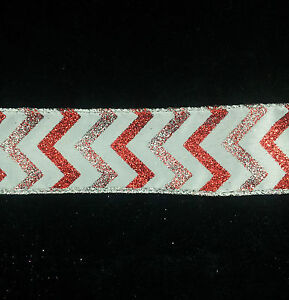 Wire Edge Christmas Ribbon White Silver & Red Glitter Chevrons 38mm New