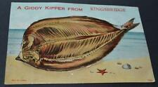 Old Postcard ' A Giddy Kipper From Kingsbridge ' With Views Of Kingsbridge.
