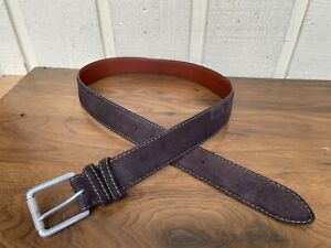 Torino men's European suede leather belt size 34. Made in USA. Brown