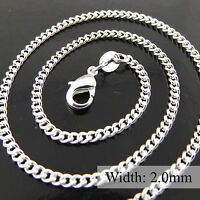 Necklace Pendant Chain Genuine Real 925 Sterling Silver S/F Fine Curb Design