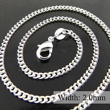 NECKLACE PENDANT CHAIN GENUINE REAL 925 STERLING SILVER S/F SOLID FINE CURB LINK