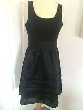 White House/Black Market Black Silk Cocktail Dress With Layered Skirt, Size 12!