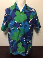 Vintage 1950s Blue Green Floral Hawaiian Cabana Shirt M Tiki Kings Of Florida