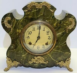 Antique Working 19th C. New Haven Green Marble Cast Iron Victorian Mantel Clock