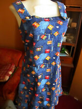 sz 4 True Vtg 70s Handmade Patchwork Print Faux Denim Jumper Mod Hippy Dress