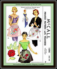 ORGANDY Floral APRON Fabric Sewing Pattern Vintage 1950's CRAFT McCall 1594
