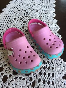 Hello Kitty crocs clogs pink sandals shoes toddler girl 8 9