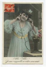 c 1910 Vintage Pretty Lady on Telephone antique photo postcard