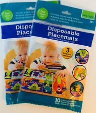 New Disposable Children's Toddler Placemats 20, 3 designs 2 packs of 10 each