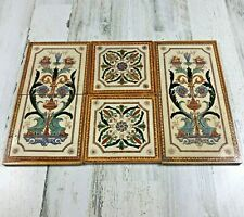 6 Antique Victorian English Ceramic Reclaimed Wall Tiles Set Flowers & Fruit 6x6