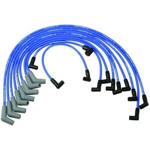 FORD RACING M-12259-C460 Spark Plug Wires Spiral Wound 9mm Blue 45 Deg Boots