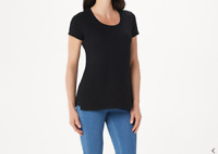 Isaac Mizrahi Live! Women's Short Sleeve Scoop-Neck Top (Black, L) A353156