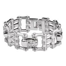 """Biker Chain Skull Bracelet Stainless Steel 1"""" Wide 9"""" Length Copyright 2012 USA"""