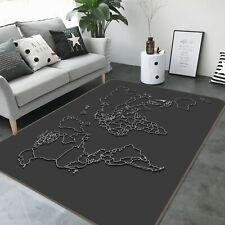 3D Black Texture P502 World Map Non Slip Rug Mat Elegant Photo Carpet Kay