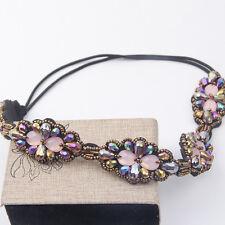 Women Charm Rhinestone Jewelry Beaded Flower Headband Elastic Stretch Hairband
