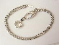 Jette Joop Collier 925 Silber Kette 60cm mit Charm Anhänger Herz m.Bergkristall