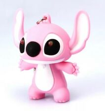Lilo & Stitch Angel Keychain Pink LED Light Up With Sound 5cm US Seller
