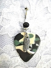 COUNTRY GIRL CAMO GUITAR PICK & COWBOY BOOT CHARM w BLACK CZ BELLY BUTTON RING