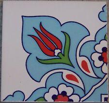 "Light Blue 4""x4"" Turkish Iznik Ceramic Daisy & Tulip Pattern Tile Border Corner"