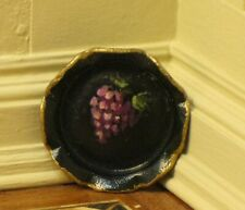 Florence Magee Hand Painted Toleware Round Tray / Dish Artist Dollhouse Miniatur