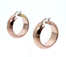 "SLC 14K Solid Gold Clip Posts ROSE GOLD Plated 1.25"" Large Hollow Hoop Earrings"
