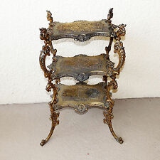 VINTAGE VICTORIAN STYLE 3 TIER ORNATE BRASS PLANT STAND NIGHTSTAND TABLES