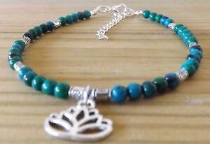 Chrysocolla 4mm Gemstone Beads Lotus Flower Charm Anklet Bracelet Healing Anklet