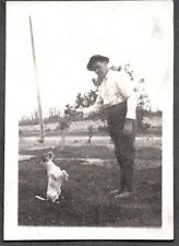 Vintage Photograph 1930-40'S Playing Ball Smooth Fox Rat Terrier Dog Puppy Photo