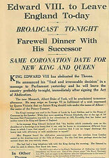 Edward V111 Abdicates 11 December 1936 To Renounce the Throne Love Mrs Simpson