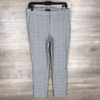 Adrienne Vittadini Women's Size 8 Slim Skinny Leg Ankle Pants Gray Plaid Stretch