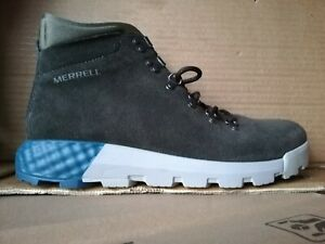 MERRELL MENS SUEDE BOOTS WILDERNESS AC MESH HIGH TOP HIKING ANKLE GREEN UK 8.5