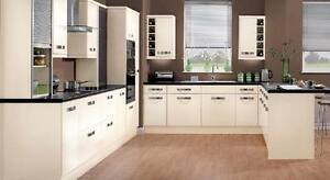 Magnet Strata Cream,White gloss Curved complete Kitchen Unit £1799