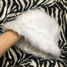 White Faux Fur Fluffy Bucket Hat - Handmade - Festival